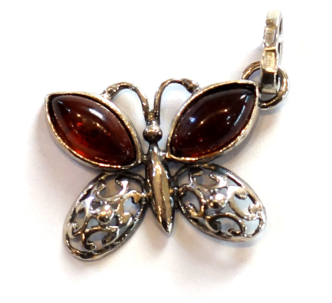 Cherry Amber Butterfly Pendant