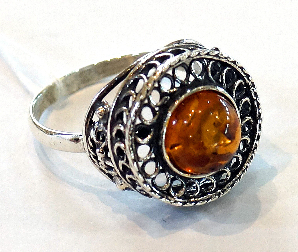 Honey Amber Mesh Ring