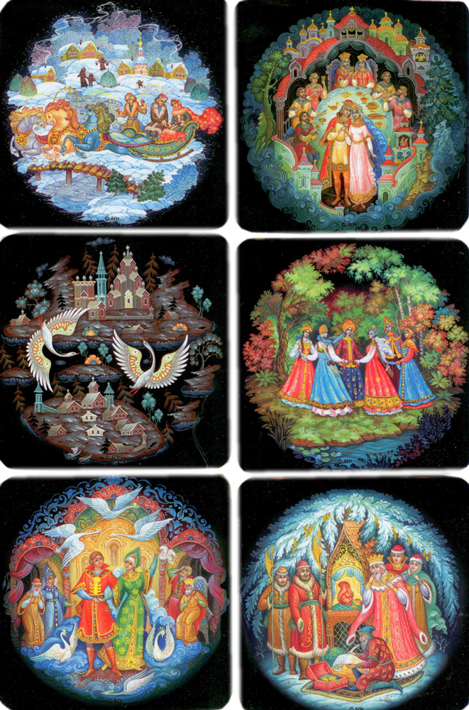Palekh Miniature Coaster Set