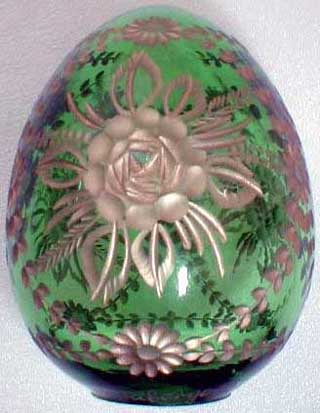 Flowers on Green Crystal Egg