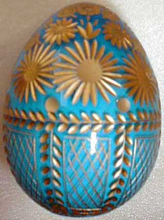 Turquoise & Gold Crystal Egg