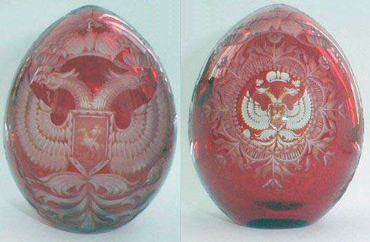 Russian Eagle on Red Crystal Egg