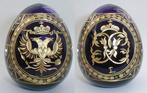 Russian Eagle on Blue Crystal Egg