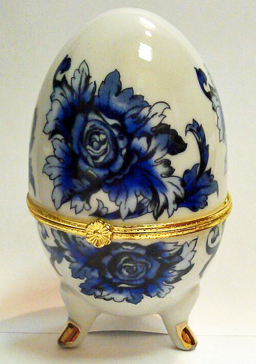 Gzhel Style Porcelain Egg Jewelry Box