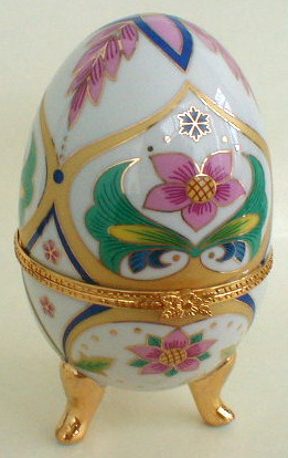 Porcelain Egg Jewelry Box (pink flowers)