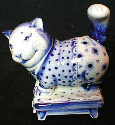 Gzhel Cat Figurine