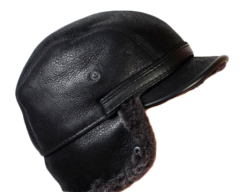 f676ad7a8cd5ce Shearling & Leather Winter Cap   Russian Legacy
