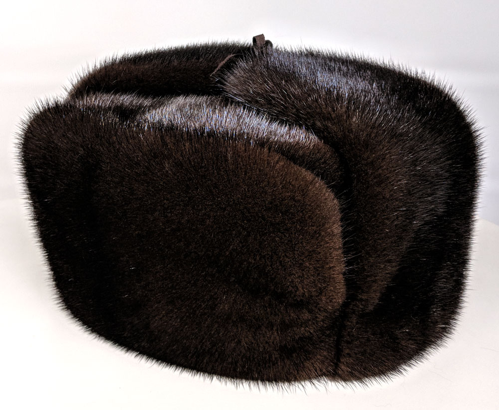 Mink Fur Ushanka Hat Brown