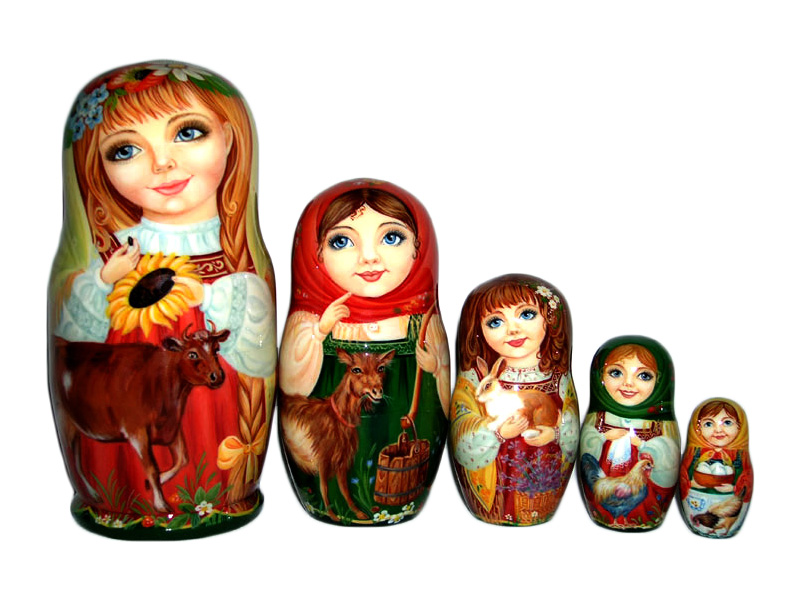 Village Girls Nesting Doll