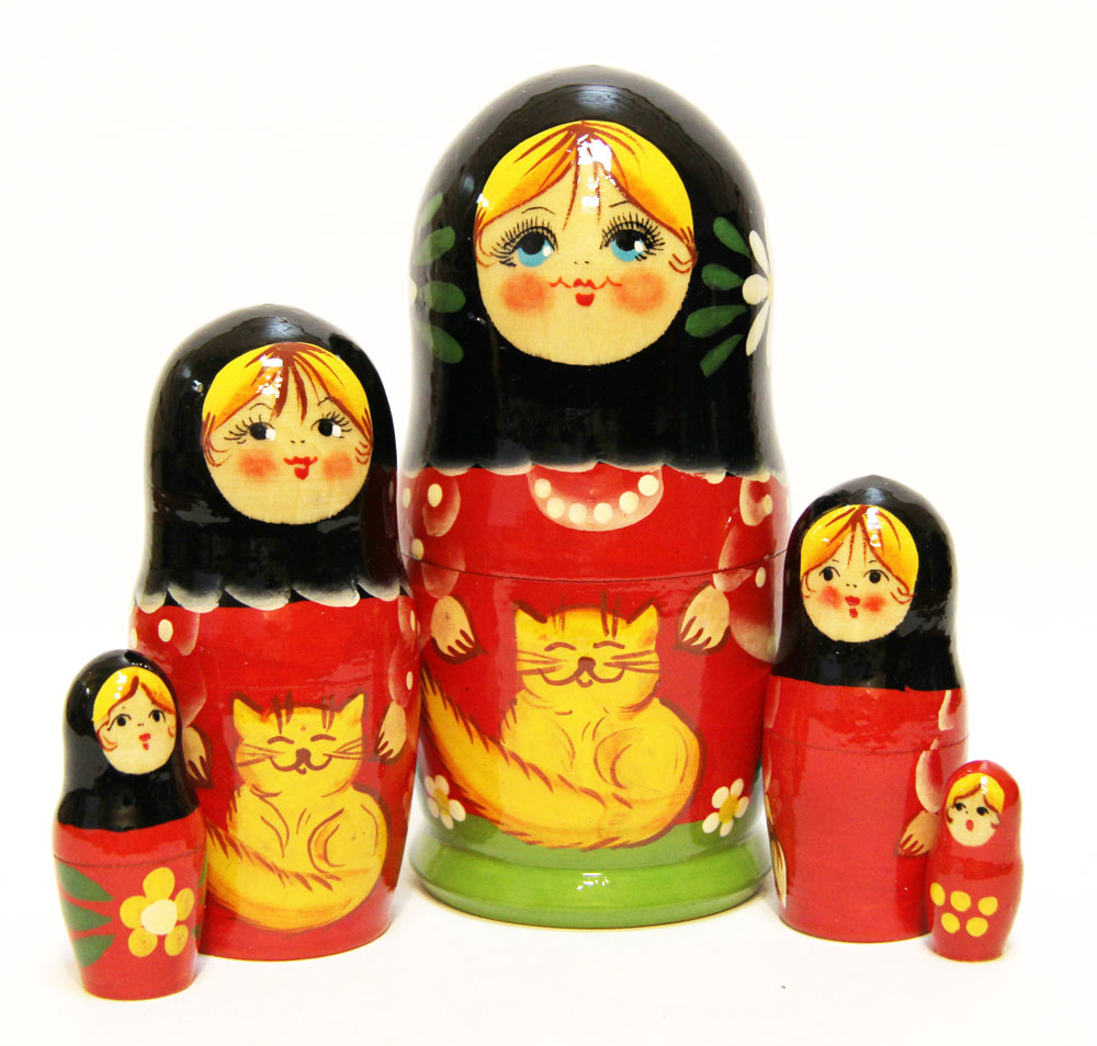 Village Cats Babushka Doll