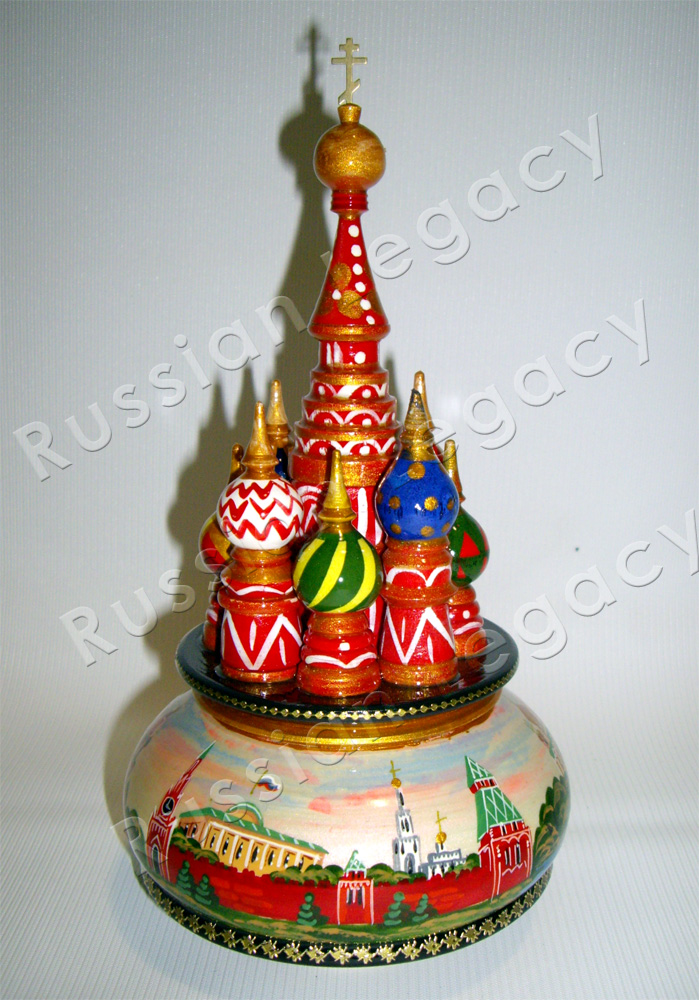 'St. Basil's' Music Box with Moscow Paintings