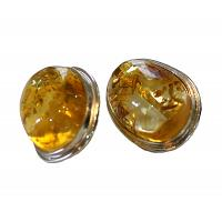 Oval Honey Amber Earrings
