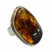 Oval Honey Amber Ring