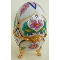 Floral Porcelain Egg Jewelry Box