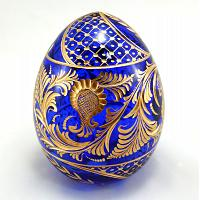 Decorative Blue Faberge Crystal Egg