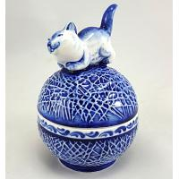 Gzhel Cat Porcelain Box