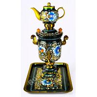 Golden Gzhel Electric Samovar Set