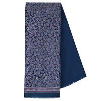 Blue Print Mixed Silk Woolen Scarf