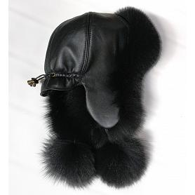Women's Polar Fox Fur Hat Black 3