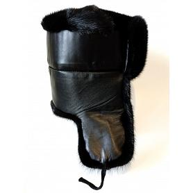 Real Mink Fur & Leather Trapper Hat 2