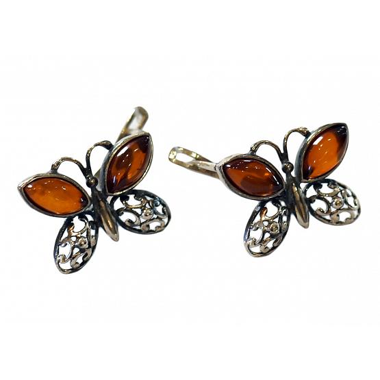 Honey Amber Butterfly Earrings