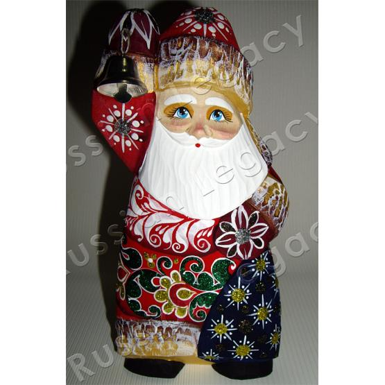 Santa with Bell Carved Figurine 1