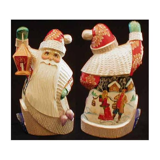 Santa with Lantern Figurine