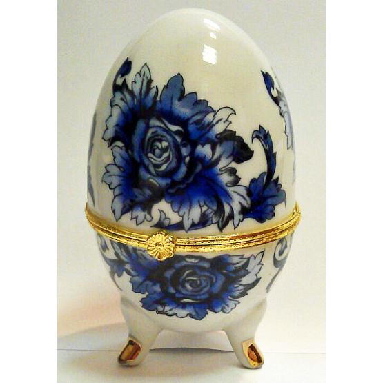 Gzhel Style Porcelain Egg Jewelry Box 1