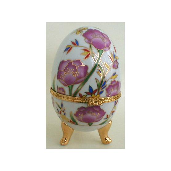 Flowers Porcelain Egg Jewelry Box