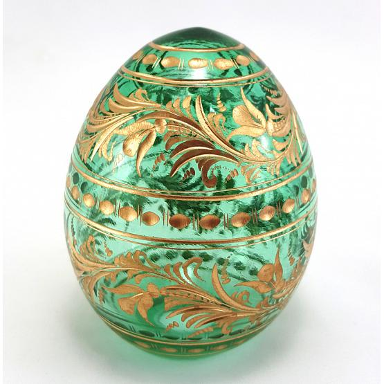 Floral Green Faberge Crystal Egg