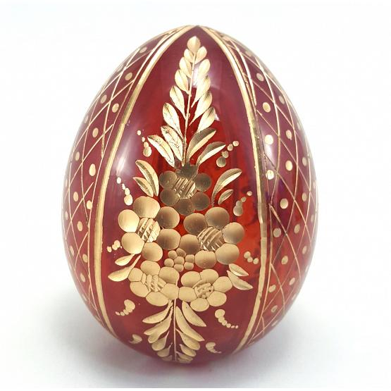 Floral Red Faberge Crystal Egg