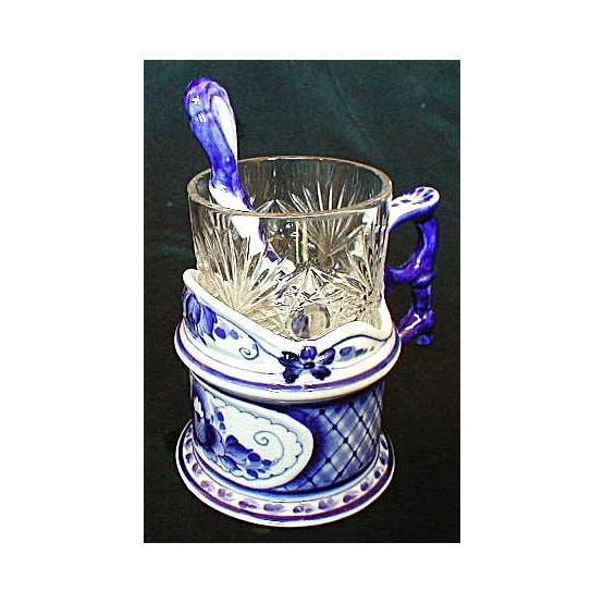 Gzhel Porcelain Glass Holder