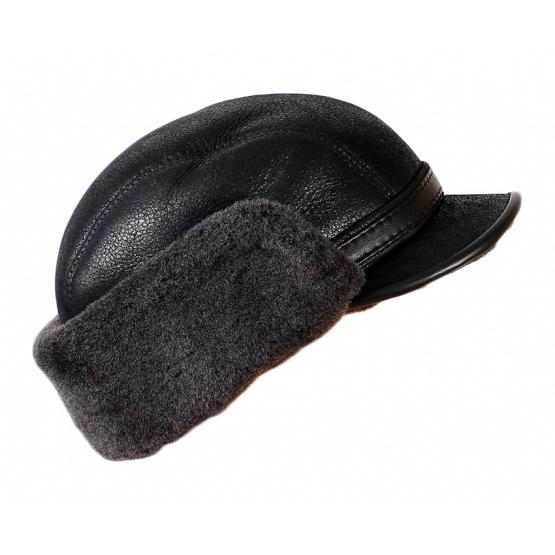 Shearling & Leather Winter Cap 1