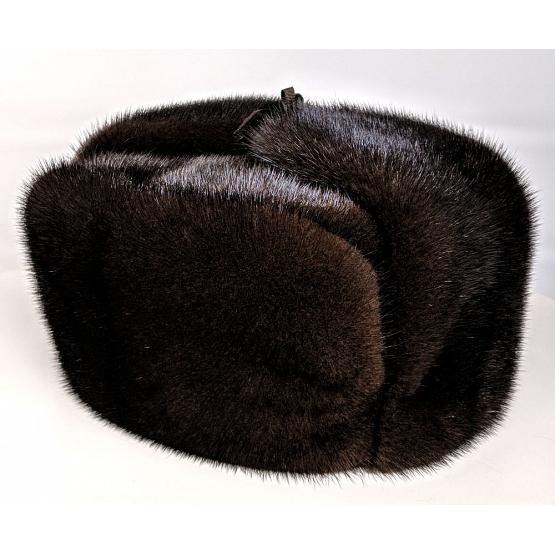 Mink Fur Ushanka Hat Brown 1