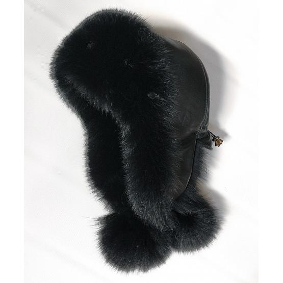Women's Polar Fox Fur Hat Black 1