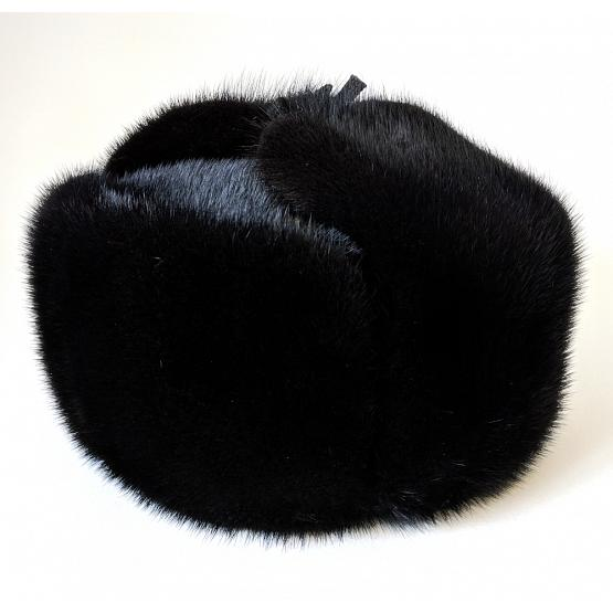 Real Mink Fur & Leather Trapper Hat 1