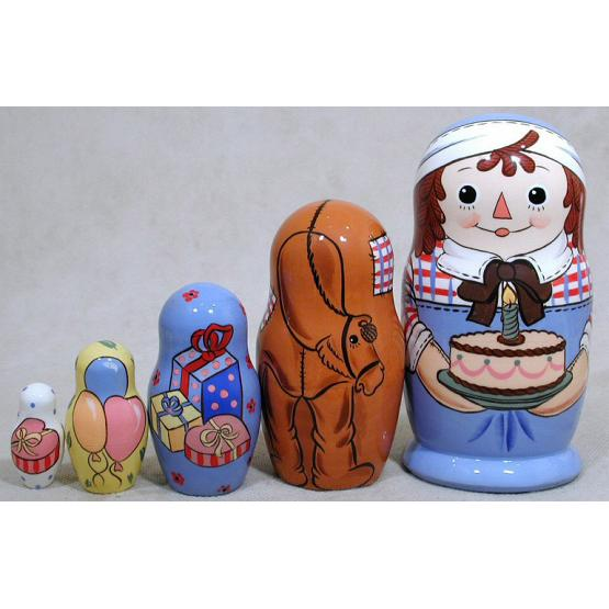Raggedy Andy Birthday Nesting Doll