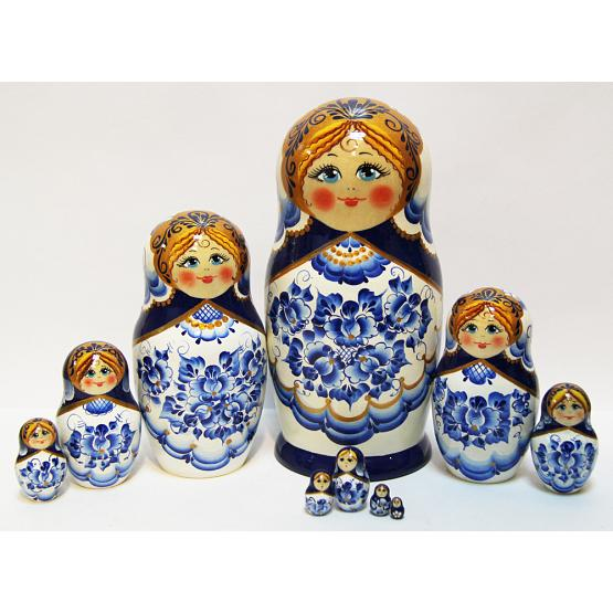 Gzhel 20 Piece Matryoshka Doll