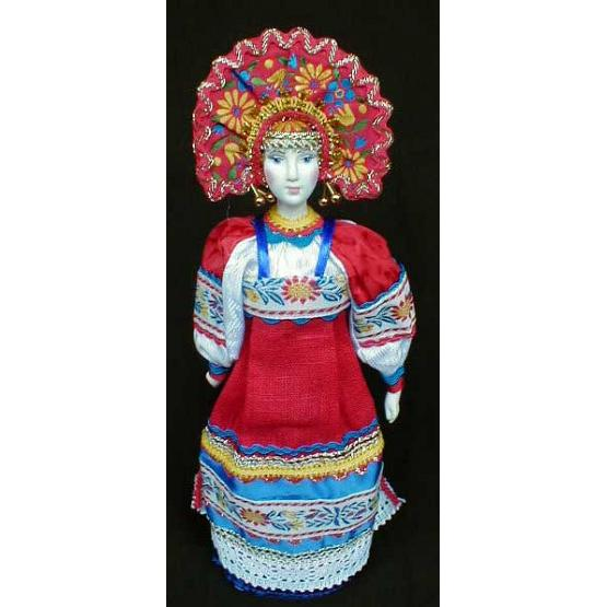 Peasant in Festive Dress Porcelain Doll