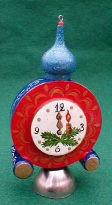 New Year\'s Clock Ornament with Bell